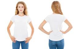 Collagevrouw in de zomert-shirt op witte achtergrond, vastgesteld meisje in t-shirt, spatie, exemplaarruimte wordt geïsoleerd die stock afbeelding