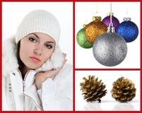 Collagevrouw met Kerstmisballen en denneappels Royalty-vrije Stock Foto's