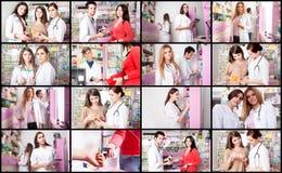 Collaje των ιατρικών και φαρμακευτικών καταστάσεων μέσα στο φαρμακείο στοκ εικόνες με δικαίωμα ελεύθερης χρήσης