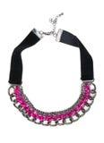 Collana alla moda con i cristalli rosa Fotografie Stock Libere da Diritti