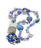 Collana blu con l'agata Fotografia Stock Libera da Diritti