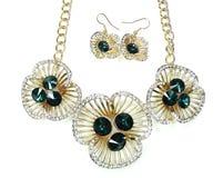 Collana con i cristalli luminosi gioielli ed orecchini Fotografia Stock