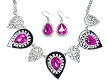 Collana con i cristalli luminosi gioielli ed orecchini Fotografia Stock Libera da Diritti