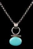 Collana d'argento del turchese isolata Immagini Stock Libere da Diritti