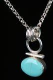 Collana d'argento del turchese isolata Fotografia Stock Libera da Diritti