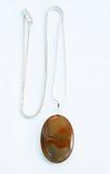 Collana dell'argento della pietra preziosa di Brown Fotografia Stock