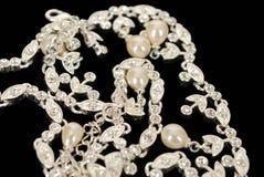 Collana dell'oro bianco del diamante Fotografia Stock