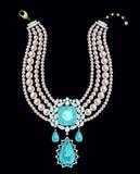 Collana della perla con il pendente Fotografia Stock