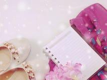 Collana della perla della sciarpa e scarpe degli appartamenti delle donne con colore d'annata del filtro Fotografia Stock