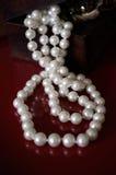 Collana della perla in scatola Fotografia Stock