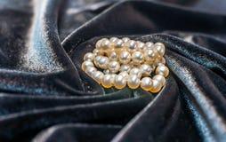Collana della perla sul velluto Immagini Stock Libere da Diritti