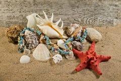 Collana delle pietre e composizione naturali negli oggetti del mare Immagini Stock Libere da Diritti