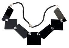 Collana delle placche piane nere, isolata Fotografie Stock Libere da Diritti