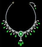 Collana di diamante con gli smeraldi Immagine Stock Libera da Diritti