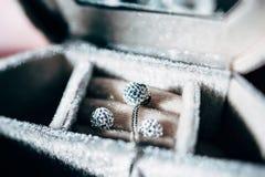 Collana di lusso ed orecchini fatti da oro e dai cristalli Fotografie Stock