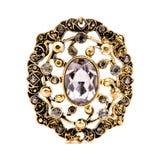 Collana di pietra Amethyst su bianco fotografie stock