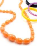 Collana e braccialetti ambrati Fotografia Stock Libera da Diritti