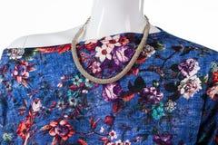 Collana floreale dell'argento e della cima Immagini Stock Libere da Diritti