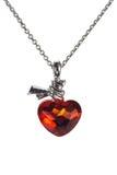 Collana a forma di della pietra preziosa del cuore rosso Fotografia Stock Libera da Diritti