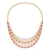 Collana metallica dorata di molte catene con i diamanti Fotografia Stock