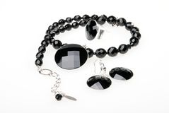 Collana, pendent, anello ed orecchini Fotografie Stock Libere da Diritti