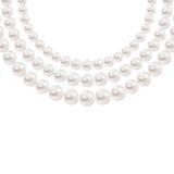 Collana realistica brillante della perla isolata su fondo bianco Immagine Stock Libera da Diritti