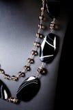 Collana stabilita della pietra nera Fotografie Stock Libere da Diritti