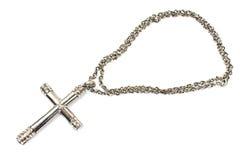 Collana trasversale cristiana d'argento Fotografia Stock