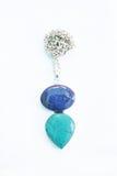 Collana variopinta dell'argento della pietra preziosa colourful Fotografia Stock Libera da Diritti