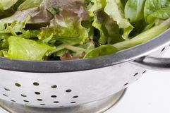 Collander with letuce. A part of an collander with fresh lettuce stock photography