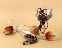 Collane e bicchieri di vino in rilievo fotografia stock libera da diritti