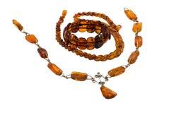 Braccialetto di pietra ambrato baltico delle collane dei gioielli Immagine Stock