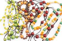 Collane fatte delle perle di legno Immagini Stock Libere da Diritti