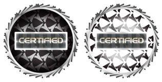 Collant certifié métallique futuriste de symbole d'estampille illustration de vecteur
