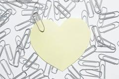 Collant jaune de coeur Photo libre de droits