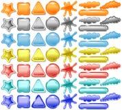 Collants, boutons de Web et bulles blanc de la parole illustration stock