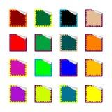 Collants colorés par rectangle arrondis sur le blanc Illustration Stock