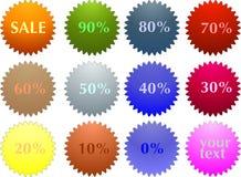 Collants d'étiquette de vente de couleur avec l'escompte Image libre de droits