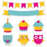 Collants d'anniversaire réglés Image stock