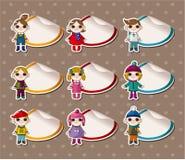 Collants d'enfant de l'hiver de dessin animé, étiquette Photographie stock