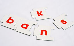 The collapse of the Banks. Jigsaw type pieces making up the word banks but separated and rearranged on a white background. A simple concept image of the way the Royalty Free Stock Photos