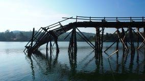 Collapse Bridge. In Sunklaburi, Kanchanaburi, Thailandnn stock photography