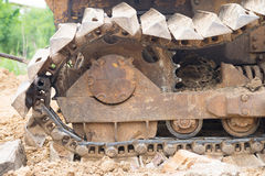 Collapse bulldozer wheel after fixing Royalty Free Stock Images