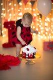 The collapse of the cake, kid eats cake, costume ladybug Stock Images