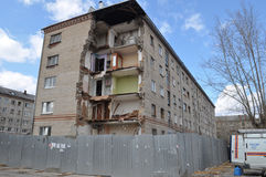 Collapse of a corner of the inhabited five-floor house. Tyumen, Stock Images