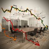 Collapse and decrease. In profits in company Stock Images