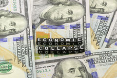The collapse economy. The collapse in the dollar against the economy Stock Images