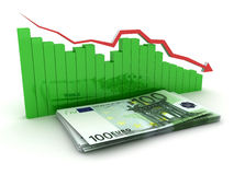 Collapse euro chart. Green histogram, red, arrow. Collapse euro chart. Green histogram and red arrow. Business concept images. 3D render Stock Photography