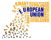 Collapse of European Union. Collapse Puzzle of words Member State of the European Union Stock Image