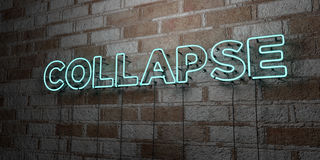 COLLAPSE - Glowing Neon Sign on stonework wall - 3D rendered royalty free stock illustration Royalty Free Stock Photos
